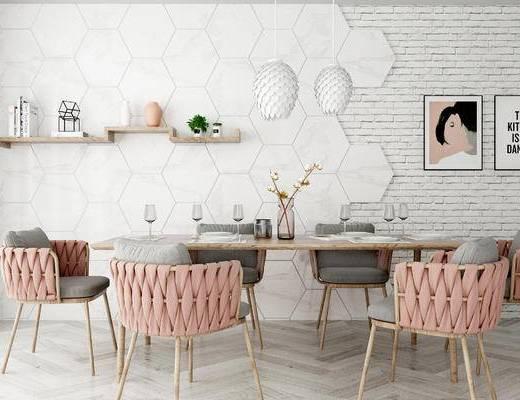 现代餐桌组合, 餐桌, 单椅, 墙饰, 摆件, 吊灯, 现代