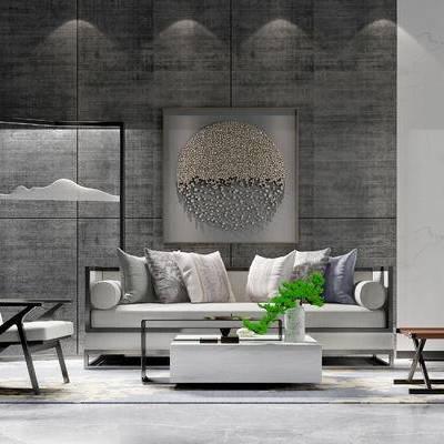 沙发组合, 椅子, 茶几, 边几, 壁画, 盆栽, 中式