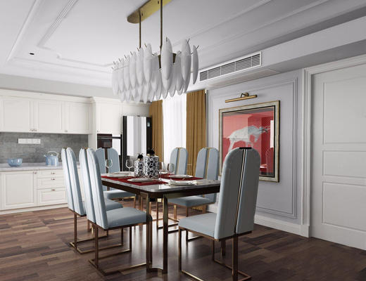 美式简约, 餐厅, 桌椅组合, 吊灯, 餐具