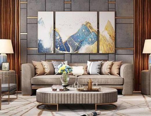 后现代, 沙发茶几组合, 挂画, 陈设品
