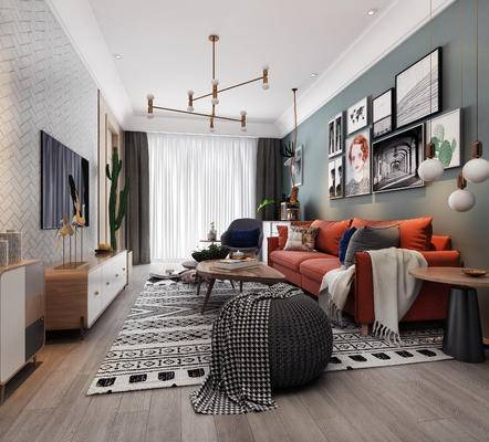 北歐會客廳, 多人沙發, 茶幾, 壁畫, 邊幾, 電視柜, 吊燈, 沙發凳, 北歐