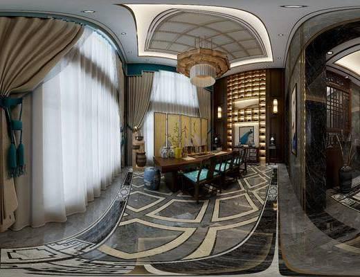 新中式茶室, 壁画, 桌子, 椅子, 边柜, 吊灯, 边几, 台灯, 置物柜, 新中式