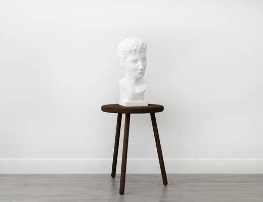 摆件组合, 圆几, 雕塑, 现代