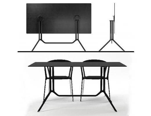 现代, 黑色, 桌椅组合, 可折叠