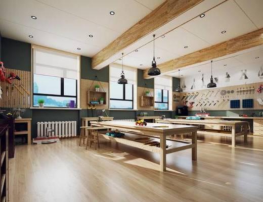 欧式, 木工房, 规矩, 吊灯, 桌几, 1000套空间酷赠送模型