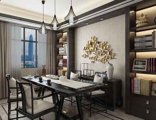 新中式, 餐厅, 桌椅组合, 吊灯, 置物架