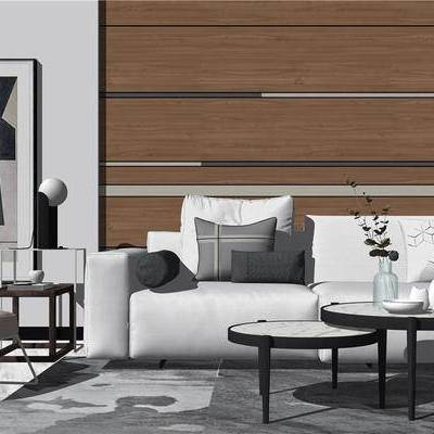 沙发组合, 多人沙发, 茶几, 花瓶, 椅子, 挂画, 边几, 台灯, 现代, 新中式