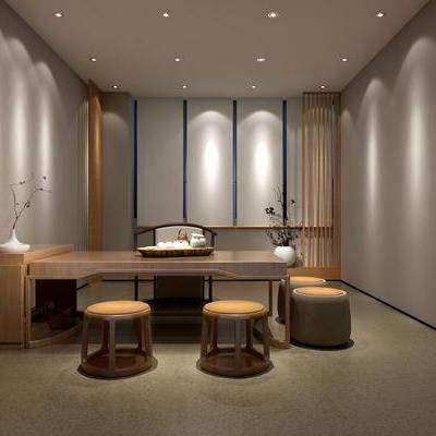 茶室, 桌子, 椅子, 花瓶, 中式