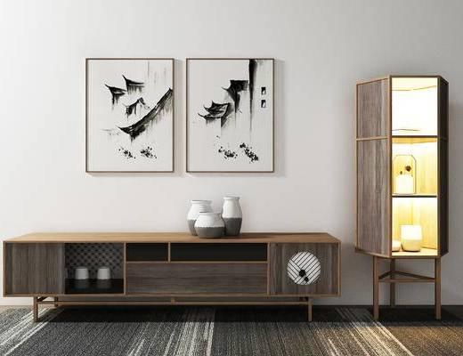 电视柜, 壁画, 新中式