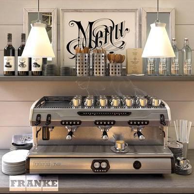 咖啡机, 现代, 置物架, 吊灯, 玻璃瓶, 镜子