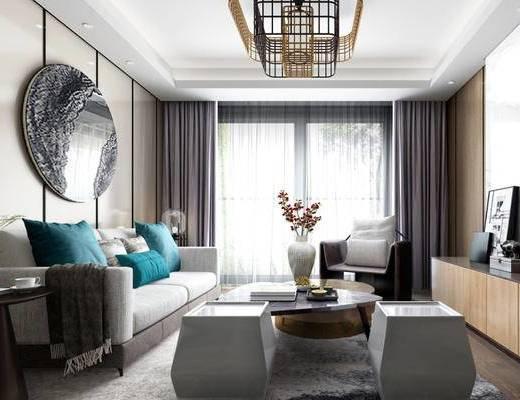 现代, 客厅, 沙发, 茶几, 吊灯, 墙饰, 电视柜, 花瓶, 摆件