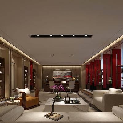 中式办公室, 茶几, 多人沙发, 置物柜, 桌子, 椅子, 边几, 台灯, 中式