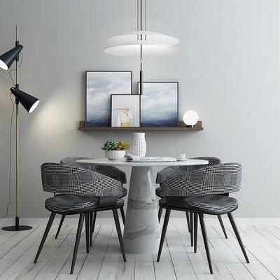 桌椅组合, 落地灯, 桌子, 椅子, 吊灯, 壁画, 边几, 北欧