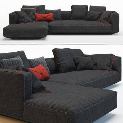 现代简约, 黑色, 沙发, 多人沙发