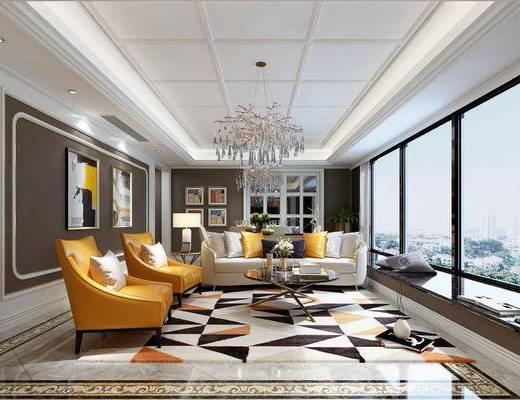 后现代, 客厅, 沙发, 茶几, 吊灯, 挂画, 台灯, 盆栽, 书籍