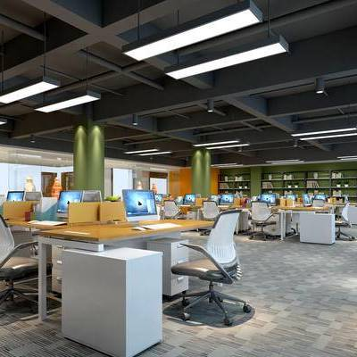 现代办公室, 办公区, 办公桌, 办公椅, 吊灯, 储物架, 柜子, 现代