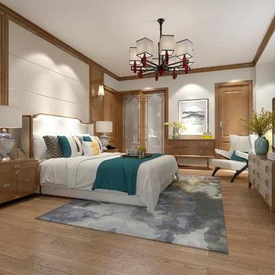 卧室, 吊灯, 双人床, 壁灯, 台灯, 床头柜, 花瓶, 边柜, 中式