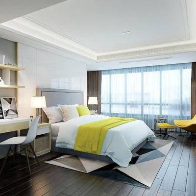 现代, 卧室, 床, 台灯, 床头柜, 边柜, 装饰柜, 书桌, 椅子, 1000套空间酷赠送模型