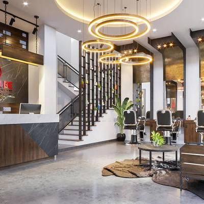 現代, 發廊, 植物, 吊燈, 鏡子, 單椅, 理發店, 盆栽, 1000套空間酷贈送模型