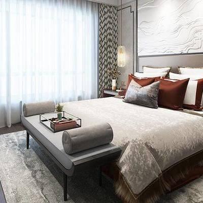 新中式卧室, 双人床, 吊灯, 壁画, 床头柜, 边柜, 床尾塌, 地毯, 新中式