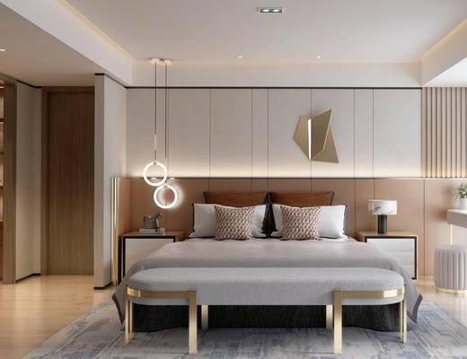 双人床, 床具组合, 墙饰, 吊灯