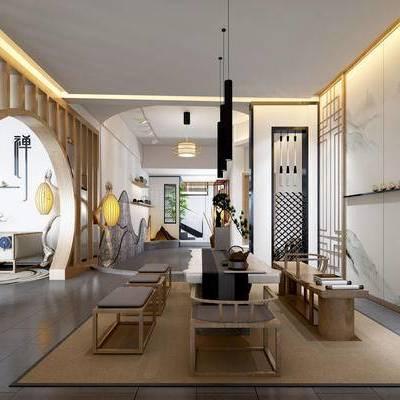 新中式茶室, 吊灯, 桌子, 椅子, 凳子, 落地灯, 壁画, 多人沙发, 花瓶, 地毯, 新中式