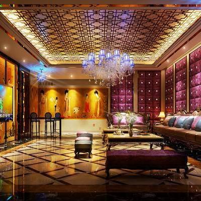 KTV, 多人沙发, 茶几, 吧椅, 吊灯, 沙发躺椅, 现代