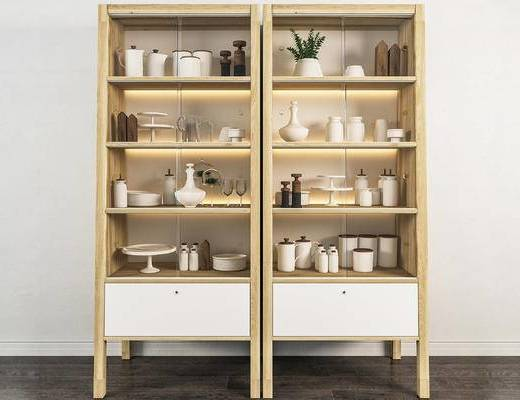 北欧简约, 实木柜, 植物盆栽, 陈设品组合, 器皿组合
