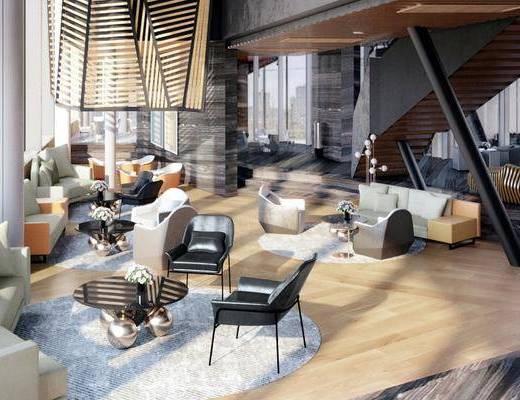 现代生活体验馆, 茶几, 单椅, 多人沙发, 休息区, 现代