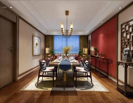 中式餐厅, 桌子, 椅子, 壁画, 多人沙发, 边几, 落地灯, 花瓶, 吊灯, 中式