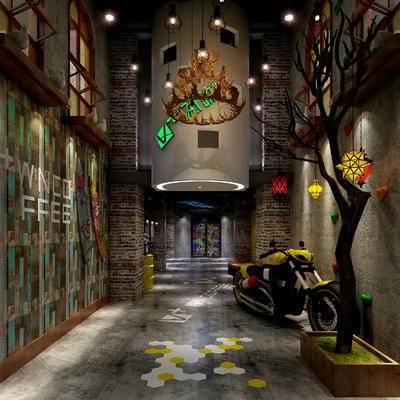 走廊过道, 吊灯, 壁画, 工业风
