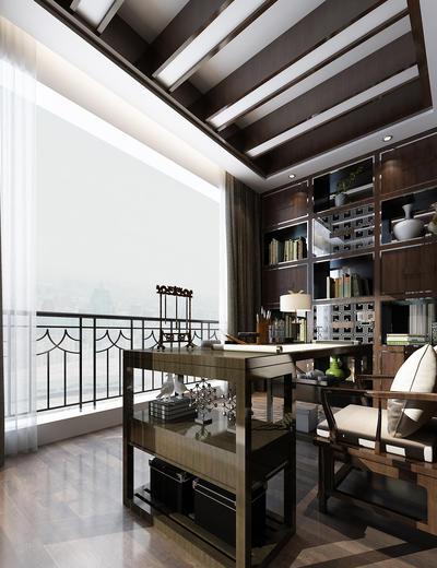 中式书房, 桌子, 椅子, 置物柜, 台灯, 中式