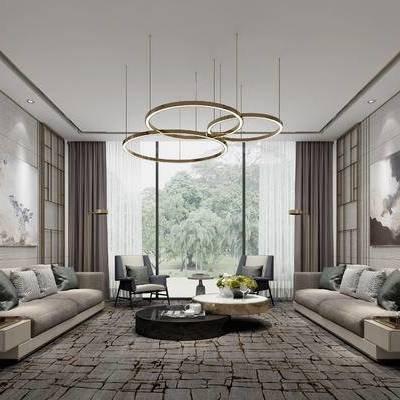 后现代, 会客厅, 沙发, 茶几, 吊灯, 挂画
