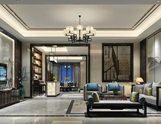 新中式客厅, 茶几, 多人沙发, 吊灯, 壁画, 电视柜, 椅子, 置物柜, 边几, 台灯, 新中式
