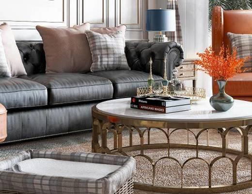 美式沙发组合, 多人沙发, 茶几, 沙发椅, 边几, 台灯, 美式