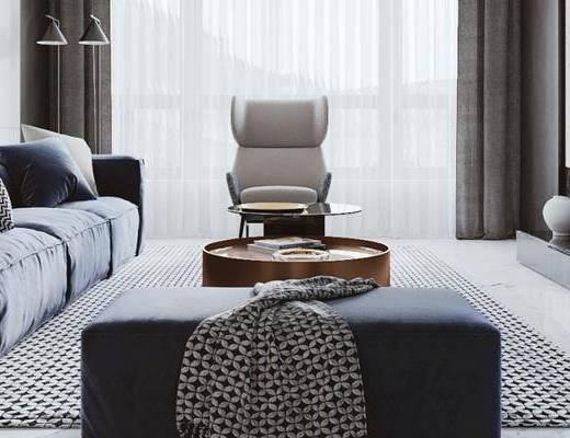 现代客厅, 多人沙发, 椅子, 茶几, 沙发凳, 现代