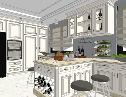 厨房, 欧式, 橱柜, 单椅