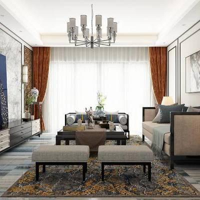 新中式客厅, 茶几, 多人沙发, 吊灯, 凳子, 壁画, 电视柜, 壁灯, 边几, 台灯, 花瓶, 新中式
