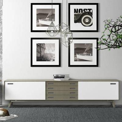 电视柜, 壁画, 边几, 盆栽, 吊灯, 现代