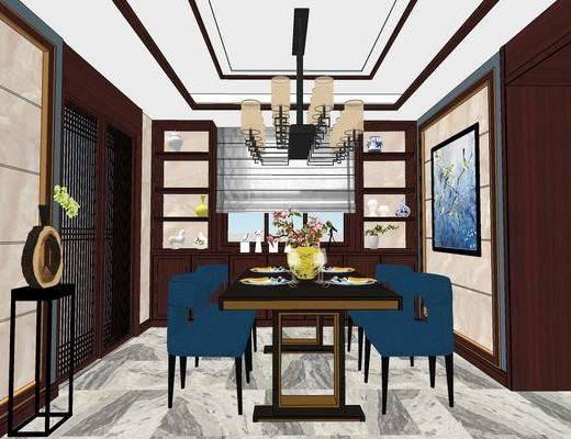 客厅, 餐厅, 沙发, 茶几, 吊灯, 摆件, 餐桌, 椅子, 餐具, 新中式, 新中式客厅, 新中式餐厅