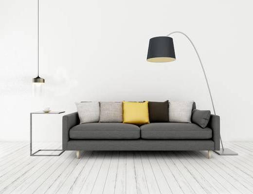 双人沙发, 落地灯, 吊灯, 边几, 现代