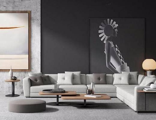 现代简约, 沙发茶几组合, 装饰画, 北欧, 下得乐3888套模型合辑