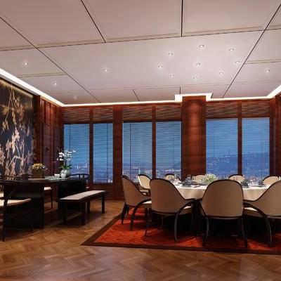 中式客餐厅, 桌子, 椅子, 壁画, 花瓶, 中式