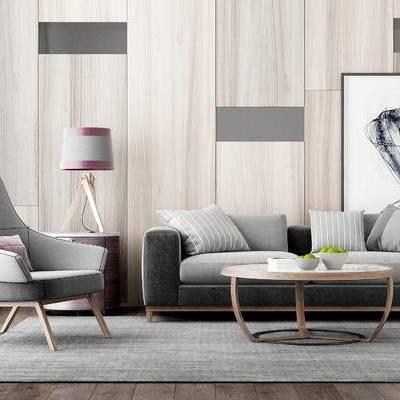 沙发组合, 双人沙发, 茶几, 椅子, 边几, 台灯, 壁画, 现代