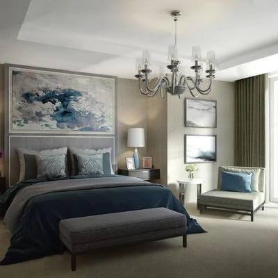 简欧卧室, 双人床, 吊灯, 壁画, 床头柜, 台灯, 床尾塌, 边几, 椅子, 相框, 简欧