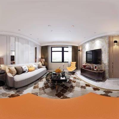 后现代客厅, 后现代沙发茶几组合, 边几, 台灯, 单人沙发椅, 壁灯, 电视柜, 壁画, 桌椅组合, 相框, 酒杯, 花瓶, 地毯, 后现代