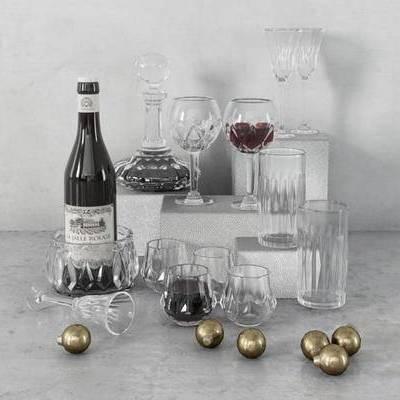 摆件, 美式, 红酒, 玻璃酒杯