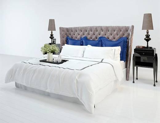 后现代, 床具组合, 床, 双人床, 下得乐3888套模型合辑