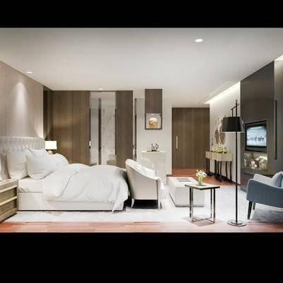 现代宾馆, 沙发, 床头柜, 台灯, 椅子, 落地灯, 边几, 柜子, 现代