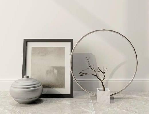 摆件组合, 相框, 陶瓷器皿, 新中式